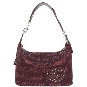Coach Poppy NY Signature Script Lurex Hobo Bag